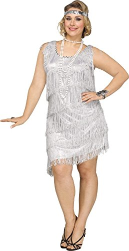 Fun World Women's Plus Size Shimmery Flapper Costume, Sil...