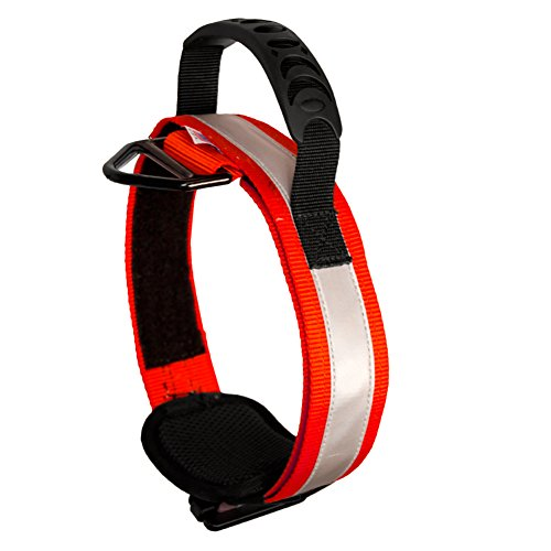 Adjustable Hi-Vis Military Tactical Police K9 Ergonomic Reflective Strip Dog Collar Hunting Guard Canine Large Red ()