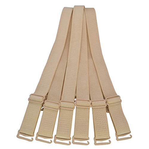 Bra Straps Replacement Adjustable 12mm 15mm 18mm 20mm Width Black White Beige (18mm Nude, 3 Pairs/Pack)