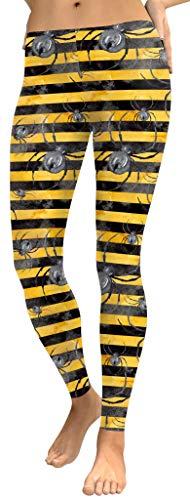 For G and PL Halloween Women's Tripe Spider Stripe Funny Costume Stretchy Leggings XL
