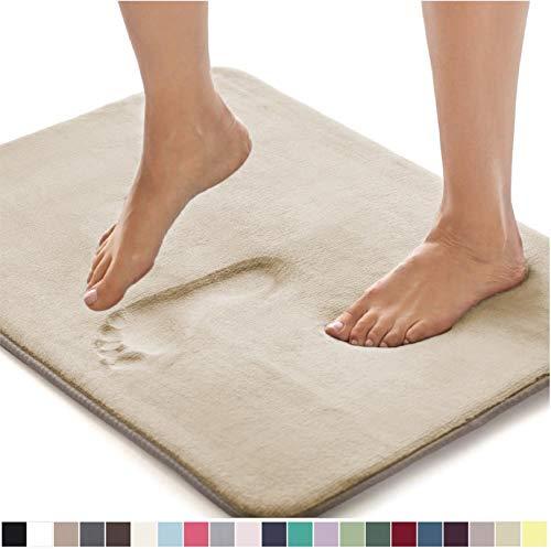 GORILLA GRIP Original Thick Memory Foam Bath Rug, 42×24, Cushioned Soft Floor Mats, Absorbent Premium Bathroom Mat Rugs Rugs, Machine Washable, Luxury Plush Comfortable Carpet for Bath Room, Champagne