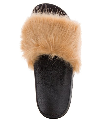 CAPE ROBBIN Womens Faux Fur Open Toe Single Strap Slip On Sandals Beige nohYWRZVcr