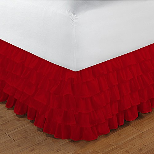 Floris Fashion Queen 300TC 100% Egyptian Cotton Blood Red Solid 1PCs Multi Ruffle Bedskirt Solid (Drop Length: 20 inches) - Tailored Finish Super Comfy Easy Care Fabric