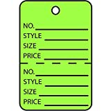 Partners Brand PG26015 Garment Tags, Perforated, 1 3/4'' x 2 7/8'', Green (Pack of 1000)