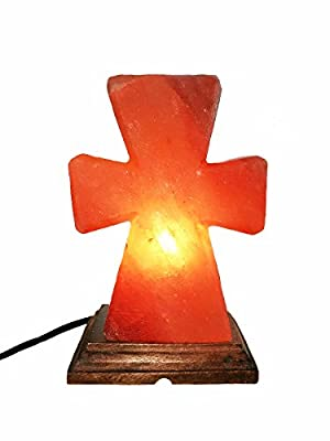 Homipooty Himalayan Hand Carved Natural Pink Crystal Cross Shaped Salt Rock Lamps, Wooden Base and Dimmer Switch, Air Purifier for Office Home Bedroom Babyroom,8-10lbs