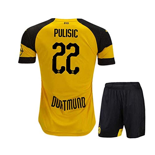 Congud Youth Pulisic 2018/19 Borussia Dortmund BVB Christian 22 Soccer Jerseys & Shorts Home Boys/Kids Yellow (Yellow, M(9-10Years Old)) - Borussia Shirt Dortmund