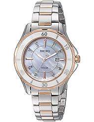 Seiko Womens DIAMOND SOLAR Quartz Stainless Steel Casual Watch, Color:Two Tone (Model: SUT340)