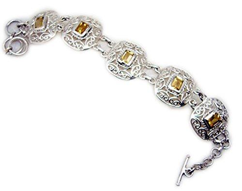 Gemsonclick Citrine Argent sterling 925Pierre précieuse Bracelet Bijoux _ Gcb411