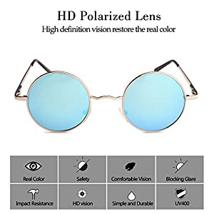 TrendyMate John Lennon Retro Round Polarized Hippie Sunglasses Small Circle Steampunk Sun Glasses (Silver Frame/Blue Lens)