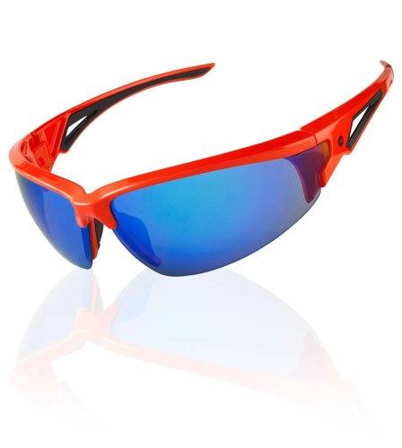 - AERO|TECH|DESIGNS Multi-Sport Triumph Blue & Orange Mirrored Wrap Sunglasses with UV Protection