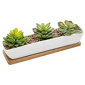 MyGift Artificial Succulent Arrangement in 11-Inch Ceramic Planter with Bamboo Tray 41