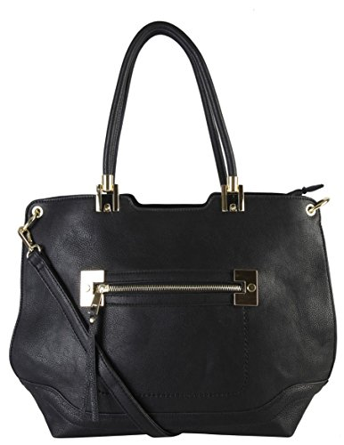 diophy-pu-leather-large-front-zipper-womens-tote-purse-handbag-my-3344-black