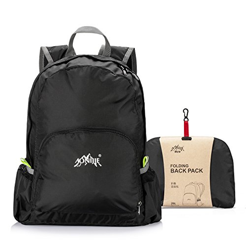 GOLDSTAR Ultra Lightweight Nylon Backpack Foldable Daypack School Bag Pack for Day Travel Sport Cycling Hiking Camping (Black)