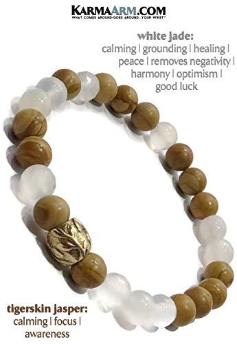 COMPASSION: White Jade | Tigerskin Jasper | Reiki Healing Yoga Jewelry & Beaded Bracelets Boho Meditation Jewelry (White Jade Gold Bangles)