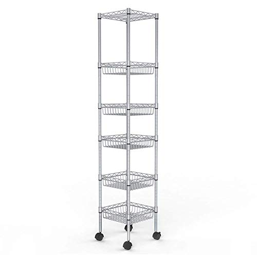 JS HOME Storage Shelves, 6-Tier Wire Shelving Unit with Baskets, 13.4