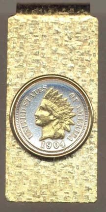 Indian Head Penny (1859-1909) Two Tone U.S. Coin Hinged Money - Hinged Money Clips Coin