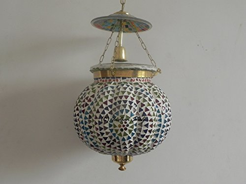 IndainShelf Handmade Decorative Mosaic Melon Glass Hanging Crystal Celling Lamp Chandelier