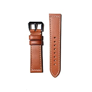 PANERAI Style 24mm Tan Watchband with Heavy Original Design S/S Buckle