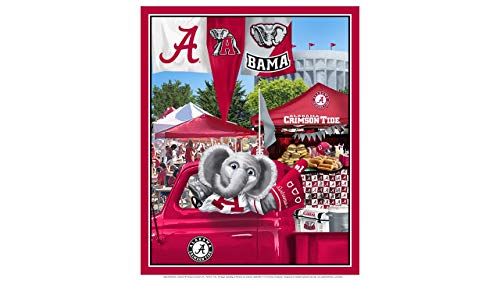 Alabama Fabric University - University of Alabama Cotton Fabric Panel with Tailgate Design-Sold by The Panel