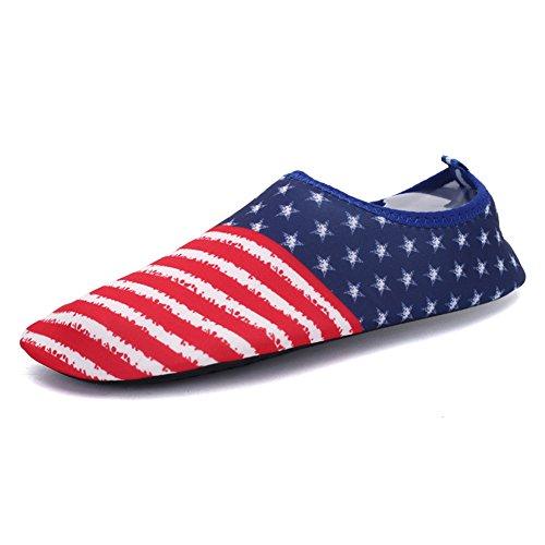 Kivors Womens and Mens Summer Outdoor Water Sports Shoes Barefoot Quick-Dry Aqua Yoga Socks Slip-On For Beach Swim Surf Yoga Exercise Flag gj4jnz