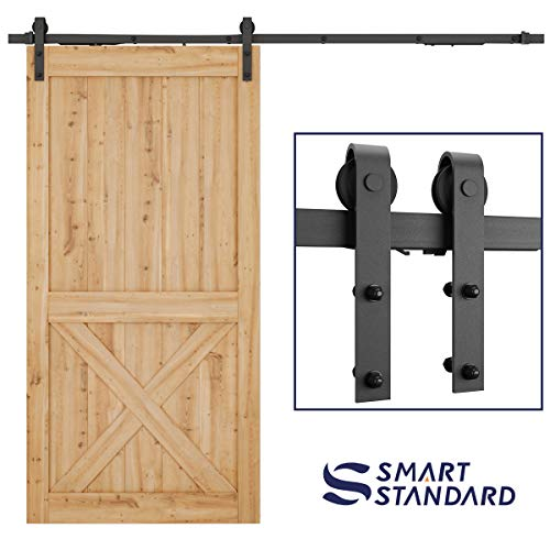 8ft Soft Close Heavy Duty Sturdy Sliding Barn Door Hardware Kit - Simple and Easy to Install - Includes Step-by-Step Installation Instruction - Fit 42''-48