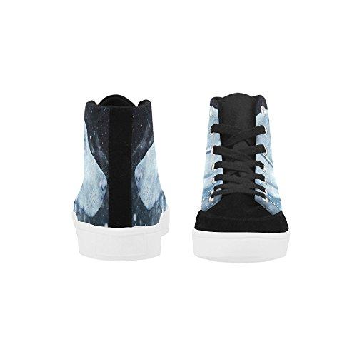D-histoire Personnalisé Chien Haut Haut Chaussures Pour Hommes Toile Chaussures Mode Sneaker