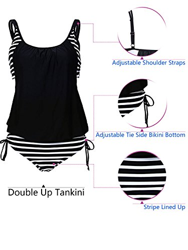 Zando Women's Sporty Two Piece Double Up Tankini With Panty Stripe Lined Up Swimwear Bathsuit Swimsuits For Teens Charming Black White1 XL (US Size 10-12)