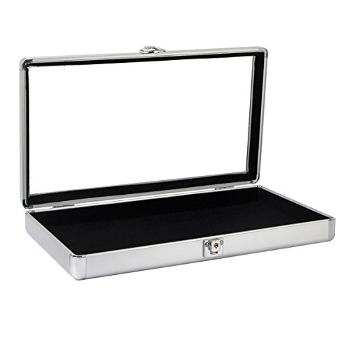 Caddy Bay Collection Silver Aluminum Jewelry Case with Glass Top and Lock