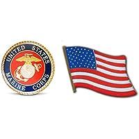 Patriotic U.S. Marines & American Flag Lapel Hat Pin & Tie Tack Set with Clutch Back by Novel Merk