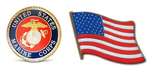 Patriotic U.S. Marines & American Flag Lapel Hat Pin & Tie Tack Set with Clutch Back by Novel Merk,Green Black,Medium