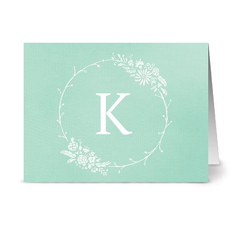 Floral Monogram 'K' Mint - 24 Cards - Blank Cards w/Grey Envelopes Included
