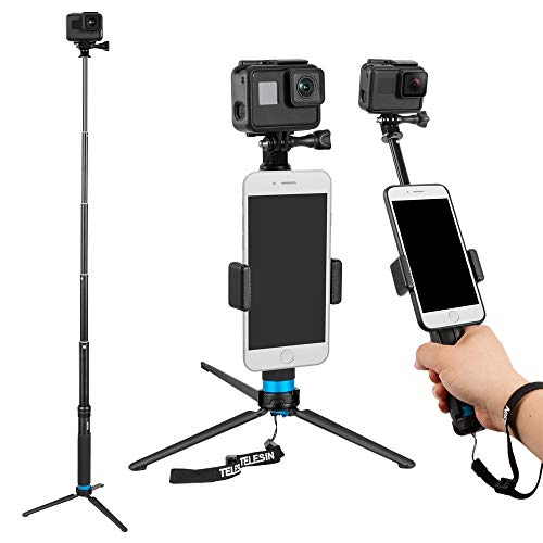 TELESIN 6-in-1 Aluminum Alloy Handheld Extendable Monopod Selfie Stick with 3-Way Mini Tripod & Tripod Mount & Phone Clip for Apple, Android Smartphones and Gopro Camera