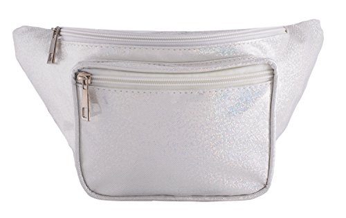 Rave Envy - Glitter Fanny Pack - Glittery Festival Waist Packs - Many Colors to Choose From (Glittery White) by Rave Envy
