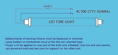 T8 LED Tube Light UL DLC G13 4FT 18 WATT 5000K Clear 48 T8 Replacement LED Tube Lights 2835 SMD 25 Pack.