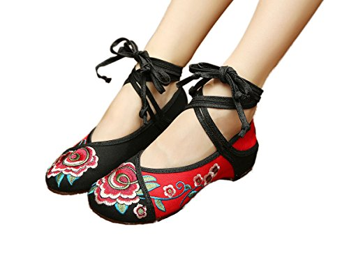 AvaCostume Women's Chinese Embroidery Strappy Multicolor Platform Dress Shoes Black 42 by AvaCostume (Image #3)