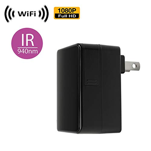(WiFi Spy Camera with Recording & Remote Internet Access; Black Box Style with Pinhole Lens (Flushed))
