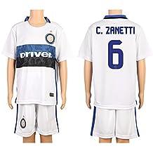 White #6 Zanetti Away Kids Youth Soccer Jersey (2015/16)