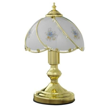 Better Homes and Gardens BRASS with Floral Glass Shade Touch Lamp