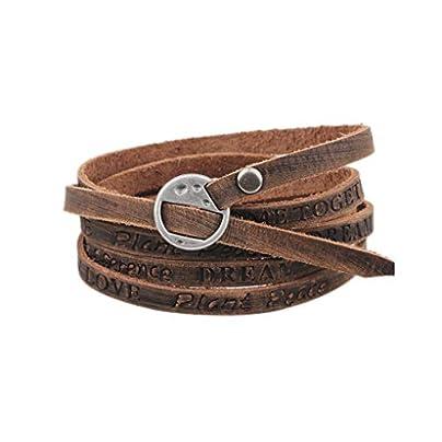 Juland Multilayer Leather Wrap Bracelet Multi Double Cuff Wristband Unisex Belt Adjustable Bangle Men s Women s Light Brown Engraved Estimated Price £7.07 -