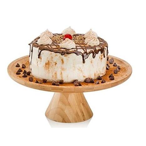 Redondo de bambú (soporte para tartas de repostería de postre de madera de bambú bandeja para tarta soporte Pedestal redondo centro placa bandeja: ...