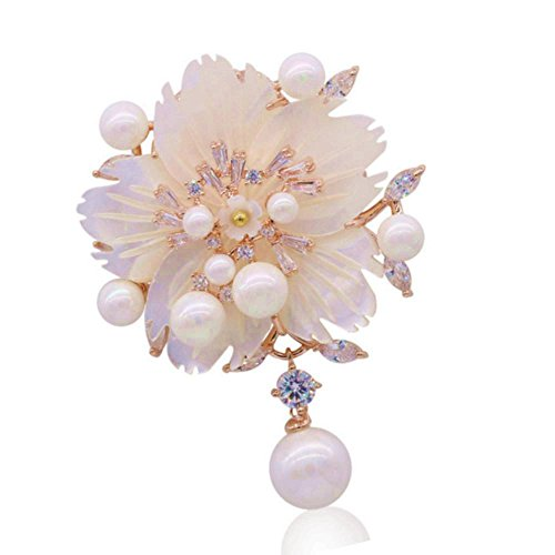 DREAMLANDSALES Stunning Mother of Pearl Drop Pink Plum Blossom Flower Brooches Pins (Rose Gold)