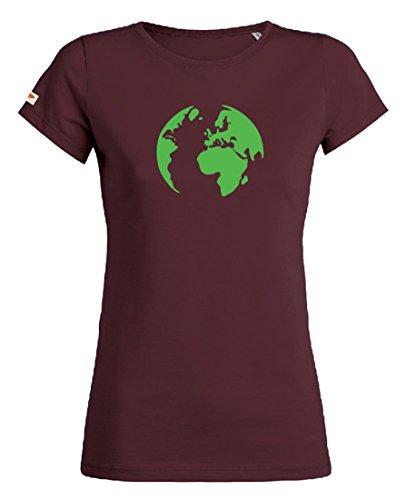 OVIVO-Inspired by Nature - Camiseta Tierra 100% algodón orgánico - Bordeaux caoba - Mujer