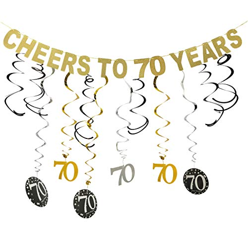 (Gold 70th Birthday Party Decorations Kit - Cheers to 70 Years Banner and Sparkling Celebration 70 Hanging Swirls, Perfect 70 Years Old Party Supplies 70th)