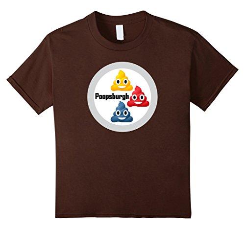 Kids Poopsburgh Squeelers Poop Emoji Football Shirt 8 Brown
