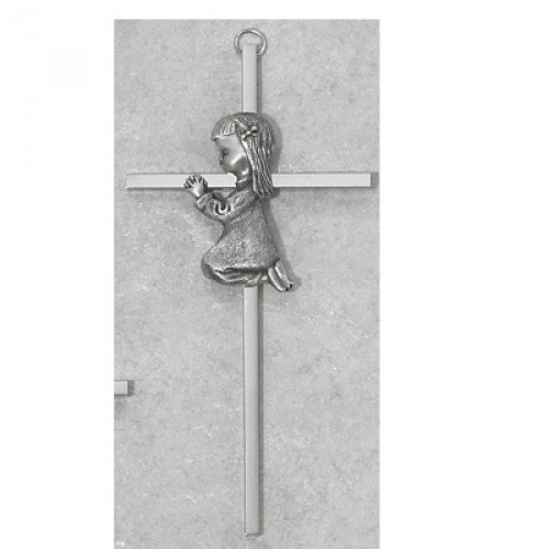 Religious Praying Girl Baptism Wall Cross for Babies, 6 Inch - Cross Baptism Babys