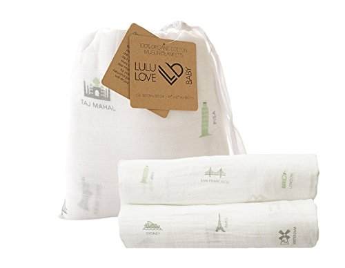 (100% Organic Cotton Muslin Swaddle Blanket Set