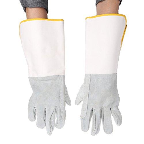 HOWWOH Welding Gloves Heatproof Fireproof Leather Tig Welders Gauntlet Safety Working - Leather Welders Gauntlets