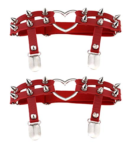 Women Girl Sexy Leather Heart Garters Punk Rock Rivet Stud Leg Ring 2pcs Red
