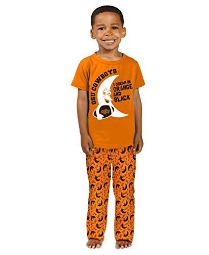 - Cheekie Peach NCAA Oklahoma State Cowboys Boys Toddler I Dream Pajama Set, 2T, Orange