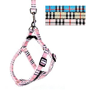 HOW'S YOUR DOG Oxford Easy Step-in Nova Plaid Padded Dog Harness and Leash Set – Pink / Small (12″-16″), My Pet Supplies